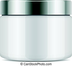 Vector round plastic jar with silver cup for cosmetics. Mockup template