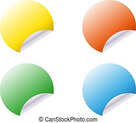 Vector round stickers with curled edge isolated on white background