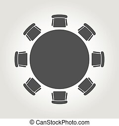 Vector round table icon. Round Table Icon Object, Round Table Icon Picture, Round Table Icon Image - stock vector