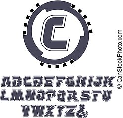 Vector rounded driving-wheel logo symbol with letter -...