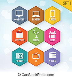 Vector Rounded Hexagon Icons 1