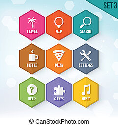 Vector Rounded Hexagon Icons 3