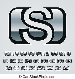 vector rounded square chrome font alphabet