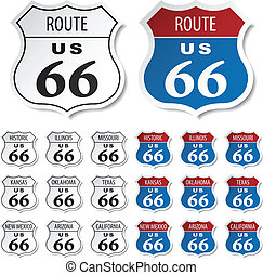 vector, route, historisch, stickers, 66