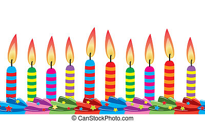 vector row of birthday candles on cake