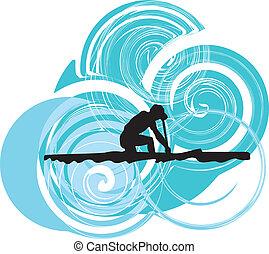 vector, rowing., ilustración