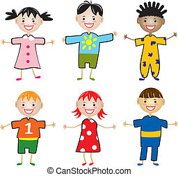 rows of young children - vector rows of young children