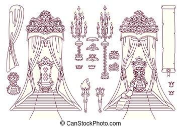 vector royal chair queen throne