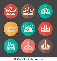 Vector royal crowns icons set
