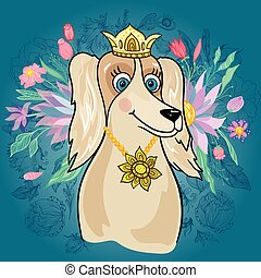 Vector Royal Dog with Flower Bouquet - Girly character with...