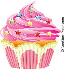 vector, roze, cupcake, met, bestrooit