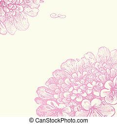 vector, roze, floral, plein, frame