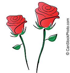 vector, rozen, tekening