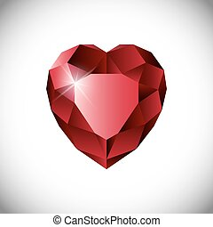 vector ruby heart white - Shiny isolated red ruby heart...