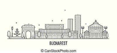 vector, rumania, bucharest, ciudad de edificios, contorno