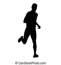 Vector runner, running man silhouette. Run, sport, active boy