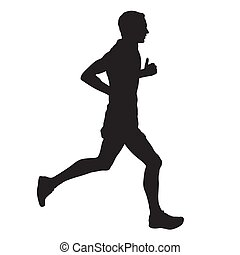 Vector runner, side view, isolated silhouette