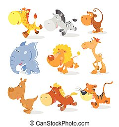 Vector runng animals in cool cartoon style