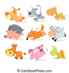 Vector running animals characters. Cute animals race.