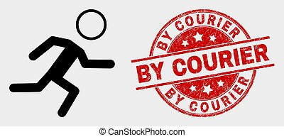 Vector Running Boy Icon and Distress By Courier Stamp