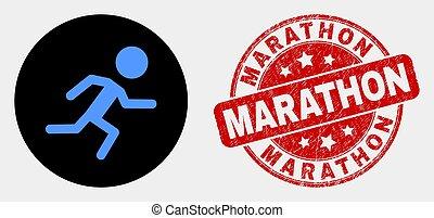 Vector Running Boy Icon and Distress Marathon Stamp Seal