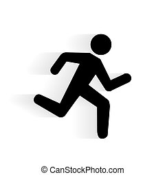Vector Running Human Icon silhouette with shadow isolated on...