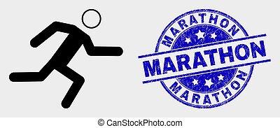 Vector Running Man Icon and Distress Marathon Stamp Seal