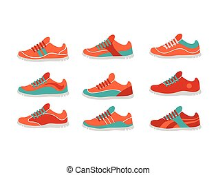 Vector running, sprort and gym shoes, sneakers