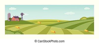 Vector rural background, green grass field