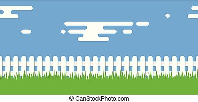vector rural illustration with wooden picket fence