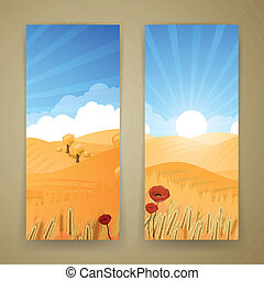 Vector Rural Landscape - Vector Illustration of Banners with...