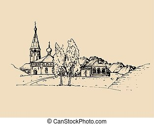 Vector rural landscape illustration. Hand drawn russian countryside or farmland. Sketch of village with church, birches.