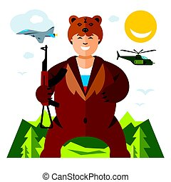 Vector Russian Army Humor Concept. Flat style colorful Cartoon illustration.