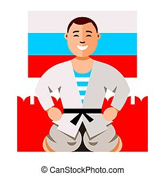 Vector Russian Man humor concept. Flat style colorful Cartoon illustration.