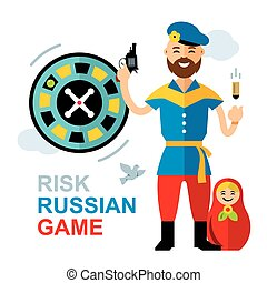 Vector Russian roulette concept. Flat style colorful Cartoon illustration.
