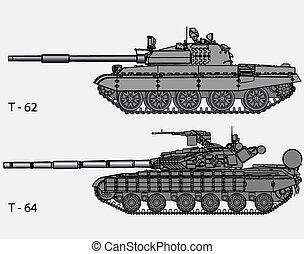Vector - Russian tanks - Detailed vector illustration of...