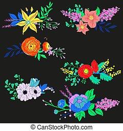 Vector Rustic Flower Bouquet Set
