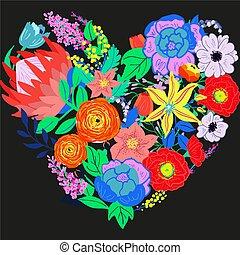Vector Rustic Flower Heart