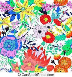 Vector Rustic Flowers Seamless Pattern