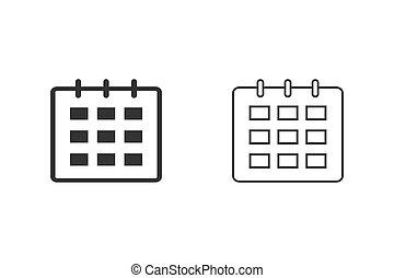vector, símbolo, aislado, icono, botón, línea, móvil, icono, set., calendario, elemento, plano, ilustración, tela, señal