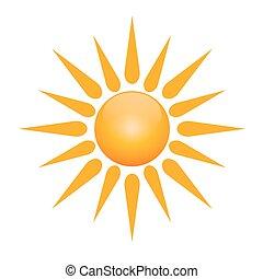 vector, símbolo, de, sol