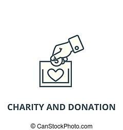 vector., símbolo, icono, caridad, línea, donación, ilustración, concepto, contorno, señal
