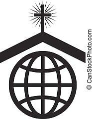 vector, símbolo, o, icono, de, cristiano, iglesia, mundial, misión