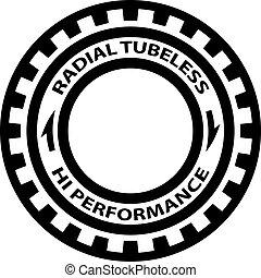vector, símbolo, rendimiento, hola, neumático, radial,...