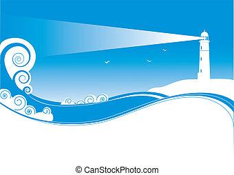 vector, símbolos, de, lighhouse, en, mar, paisaje