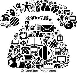 vector, símbolos, en, el, teléfono