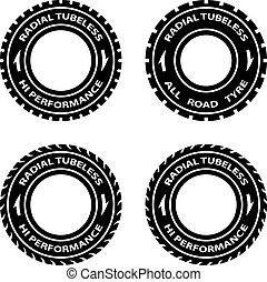 vector, símbolos, rendimiento, hola, neumático, radial, ...