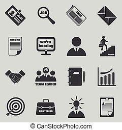 vector, símbolos, trabajo, recursos, humano, empleo, set., ...