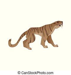 vector, saber-toothed, tigre, con, grande, ventiladores, icono