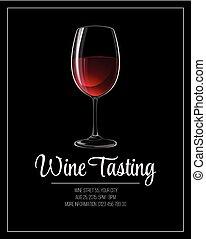 vector, saboreo, ilustración, aviador, template., vino